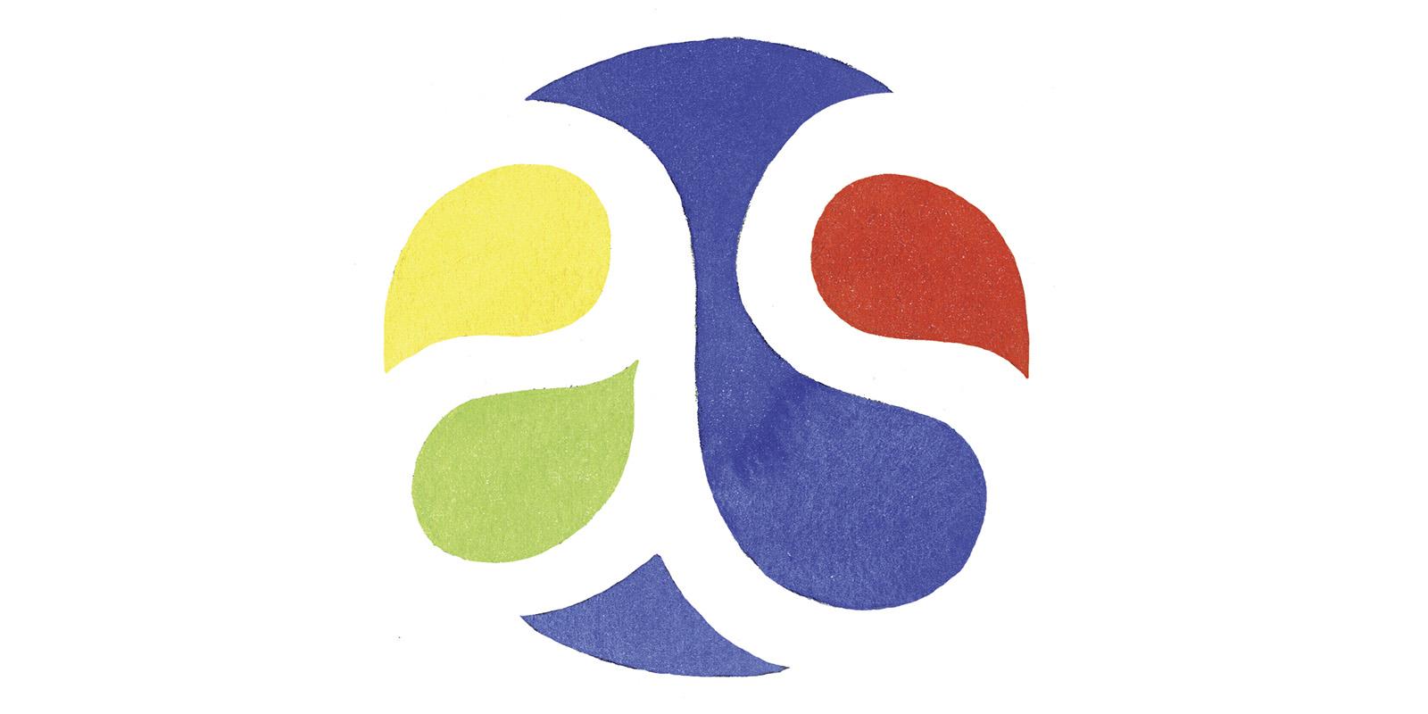 logo (version emblème) d'Adrien Stratégie à l'aquarelle par Joël Alessandra
