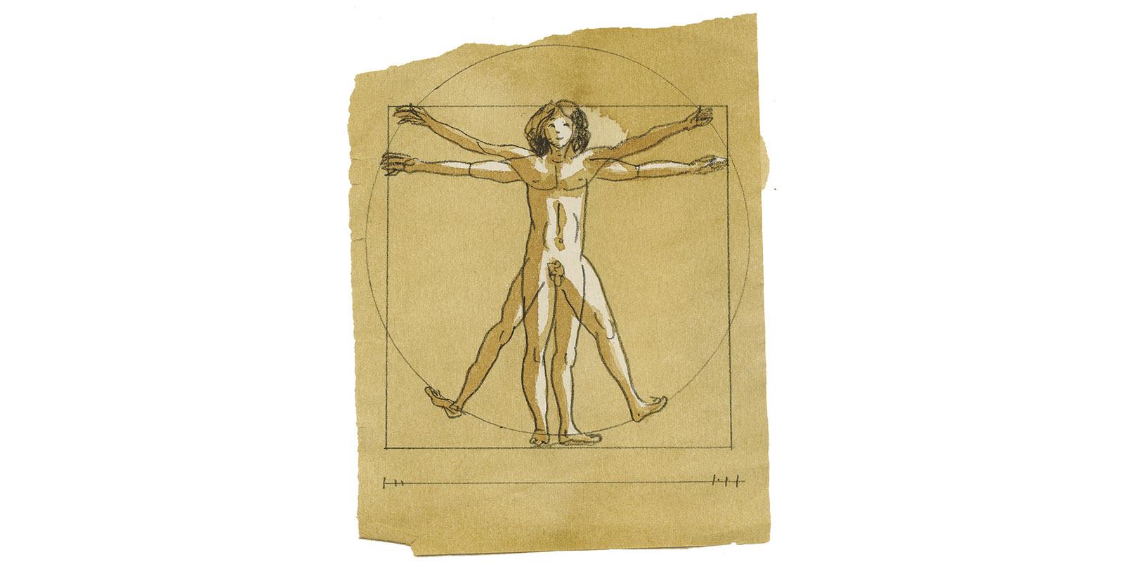 L'homme de Vitruve d'après de Vinci, illustration de l'article ma tête, mon coeur et mes...