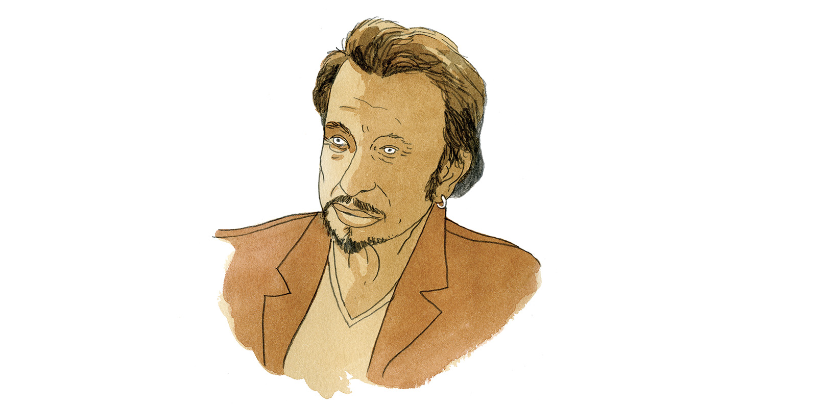 Portrait de Johnny Hallyday à l'aquarelle, illustration de l'article Johnny