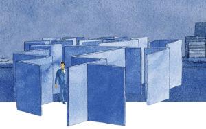 Vos interrogations d'entrepreneur selon Adrien Stratégie, illustration de Joël Alessandra