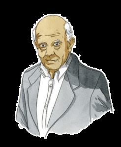Portrait de Bernard Rouilly, consultant d'Adrien Stratégie, à l'aquarelle (illustration de Joël Alessandra)