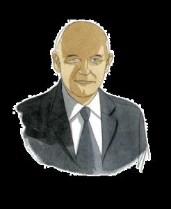 Portrait de Claude Brunet, expert en gouvernance du Lab Adrien chez Adrien Stratégie, à l'aquarelle (illustration de Joël Alessandra)