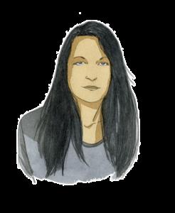 Portrait de Fanny Parise, experte du Lab Adrien chez Adrien Stratégie, à l'aquarelle (illustration de Joël Alessandra)