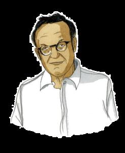 Portrait de Jean-Noël Reinhardt, expert du Lab Adrien chez Adrien Stratégie, à l'aquarelle (illustration de Joël Alessandra)