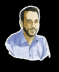 Portrait de Maxime Vignard, consultant manager chez Adrien Stratégie, à l'aquarelle (illustration de Joël Alessandra)