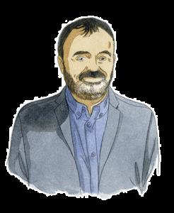 Portrait d'Olivier Maréchal, associé chez Adrien Stratégie, à l'aquarelle (illustration de Joël Alessandra)