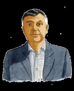 Portrait de Joël Armary, expert du Lab Adrien chez Adrien Stratégie, à l'aquarelle (illustration de Joël Alessandra)
